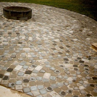 Stone tile fire pit patio
