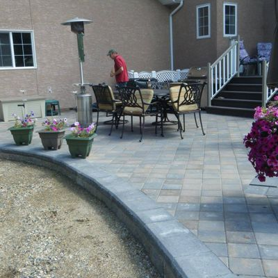 Stone tile patio
